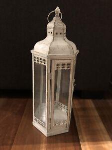 Ishka Large White Metal Lantern