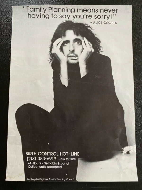 Rare Alice Cooper Poster From Los Angeles - Planned Parenthood Very Interesting