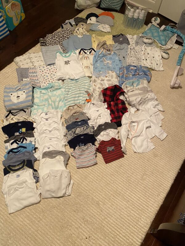 Baby Boy Lot - Preemie/Newborn Clothes, Dr. Brown Bottles, Mobile, Blankets