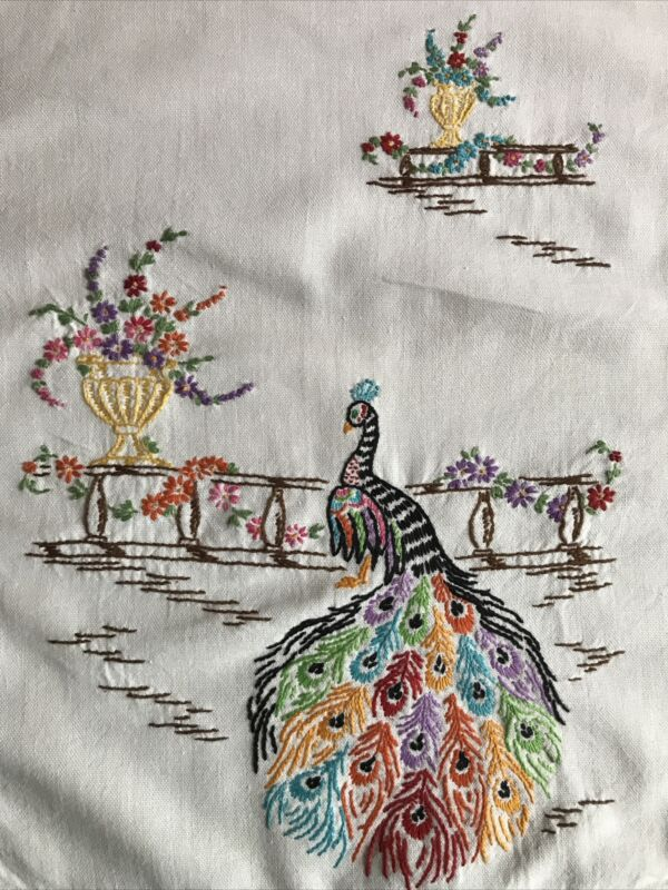 """Pretty Vintage Runner - Hand Embroidered - Peacocks & Flowers -  16""""x40"""""""