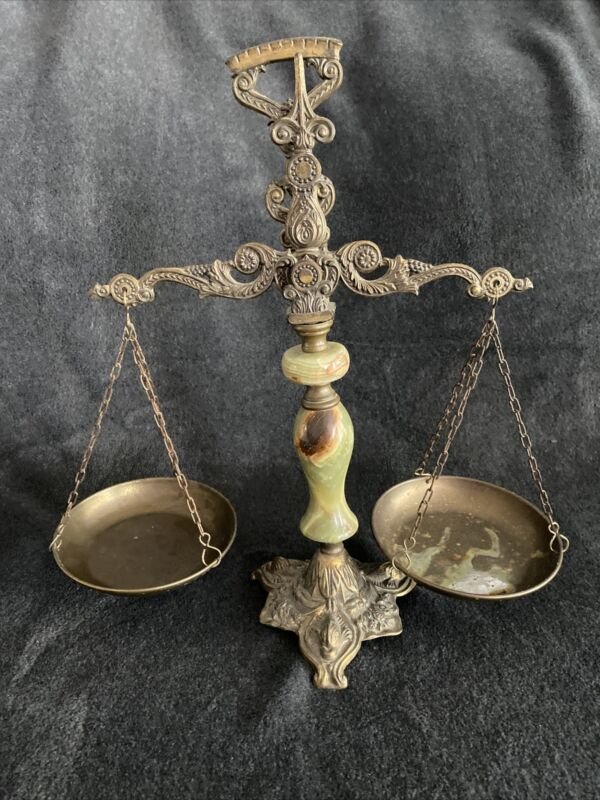 Antique Italian Brass and Marble Scales Of Justice
