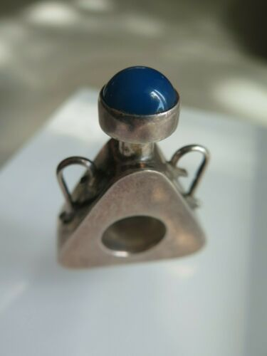 MEXICAN Sterling Silver Miniature PERFUME BOTTLE w/ Lapis Screw Top