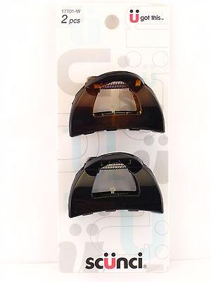 SCUNCI JAW HAIR CLIPS - BLACK & TORTOISE - 2 PCS.