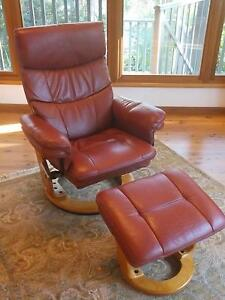 Two Leather Recliner Chairs with Footstool Macmasters Beach Gosford Area Preview