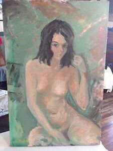 Augusto Corvino Painting of semi-nude woman
