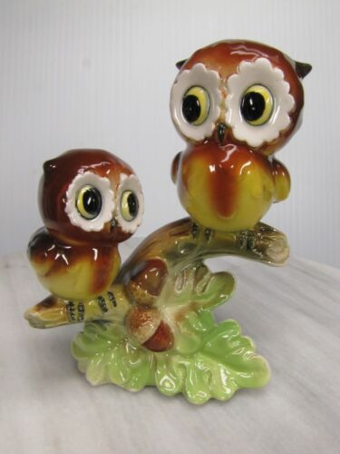 CUTE Vtg NORCREST OWL Figure Pair ON BRANCH Ceramic FIGURINE - Made in JAPAN