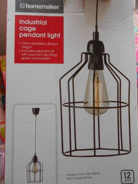 Industrial cage pendant light new in box