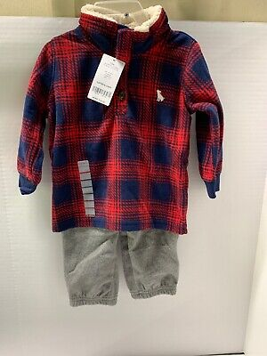 Carter's 12M 2 piece flannel set, 1/4 Button Up And Fleece Pants MSRP$24 New