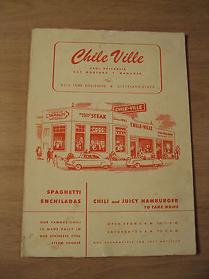 Vtg 1940S Restaurant Menu  Chile Ville  Cleveland Oh Inserts Photo