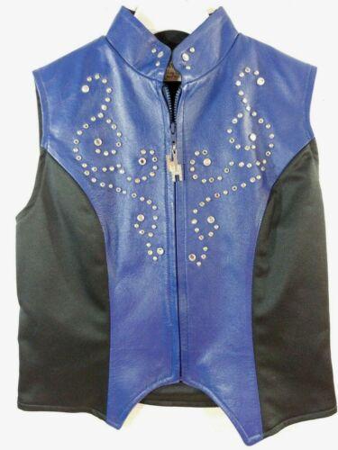 HOBBY HORSE WESTERN PLEASURE SHOW RAIL Neon BLUE Black Leather VEST Yth Girls XL