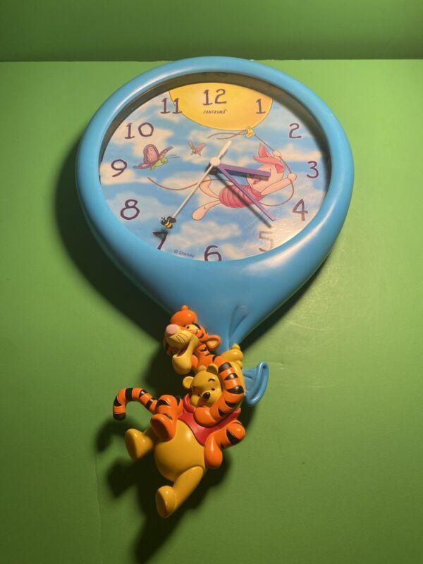 "Vintage 16.5"" Disney Winnie the Pooh Wall Clock Tigger Balloon Fantasma (b18)"