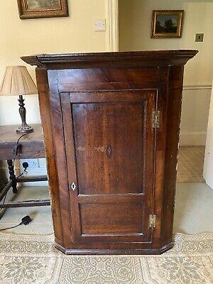 Large Georgian Oak Corner Cabinet With Inlay Detail