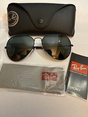 Ray-Ban RB3025 58 Large Aviator Sunglasses Black Frames Authentic Free shipp