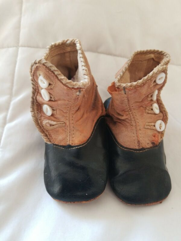 Vintage Antique Leather Button Up Baby Shoes  1800