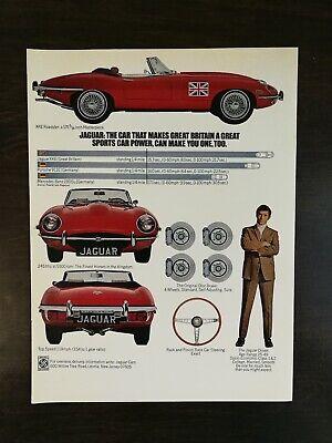 Vintage 1970 Jaguar XKE Roadster Full Page Original Color Ad