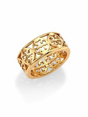Tory Burch KINSLEY LOGO BAND RING Gold/silver size 6 US seller sale