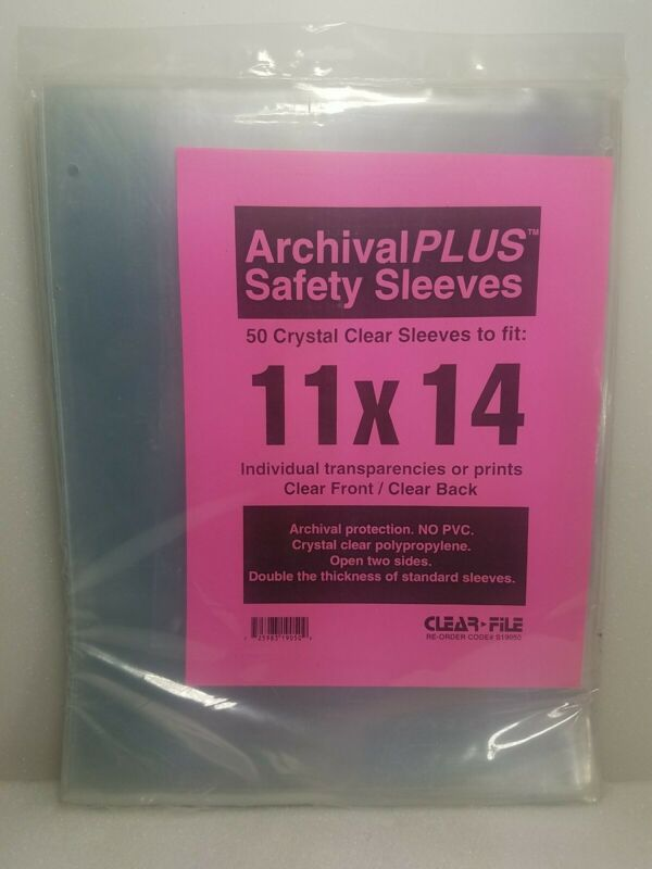 """Clear File ~Archival Safety Sleeves ~11"""" X 14"""" ~50 Count Crystal Clear Sleeves"""