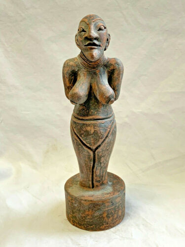 African Vtg Carved Wood Tribal Statue Woman Figure Fertility Lady Sculpture