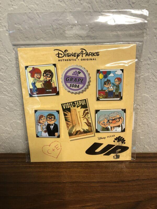 Disney Parks Pixar Up Carl and Ellie Pins 4 Pin Set NEW