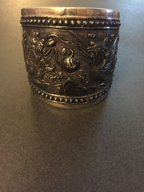 Antique WIDE Chinese Carved Dragon And Phoenix Sterling Silver Cuff Bracelet