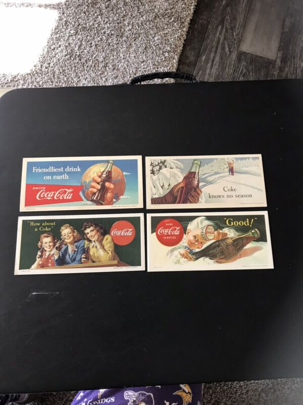 4 Vintage Coca Cola Ink Blotters Lot
