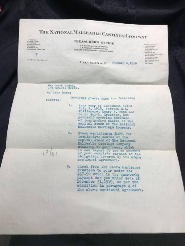 1920 THE NATIONAL MALLEABLE CASTINGS COMPANY Letter About Stock In Company