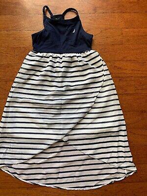 Nautica Girls 6 Hi Lo Navy/white Racer Back Dress