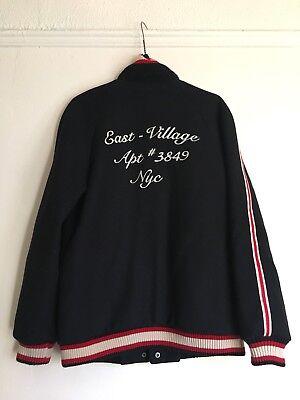 Zara Wool Blend Short Embroider Jacket Navy Red Size Xs Vintage Blogger Fav