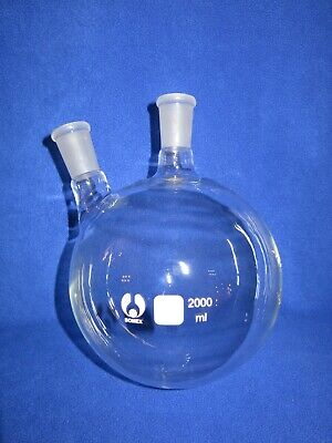 2-neck Round Bottom Boiling Flask 2440 2000ml Heavy Wall New