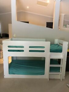 White Single Lowline Bunks and 2 x Innerspring Mattresses