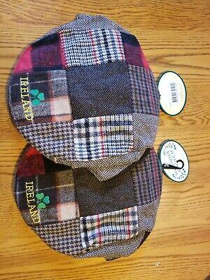 Pair Irish Blessing Tweed Flat Cap Patchwork Ireland Shamrock Patch cap Set of 2 Irish Patch Cap