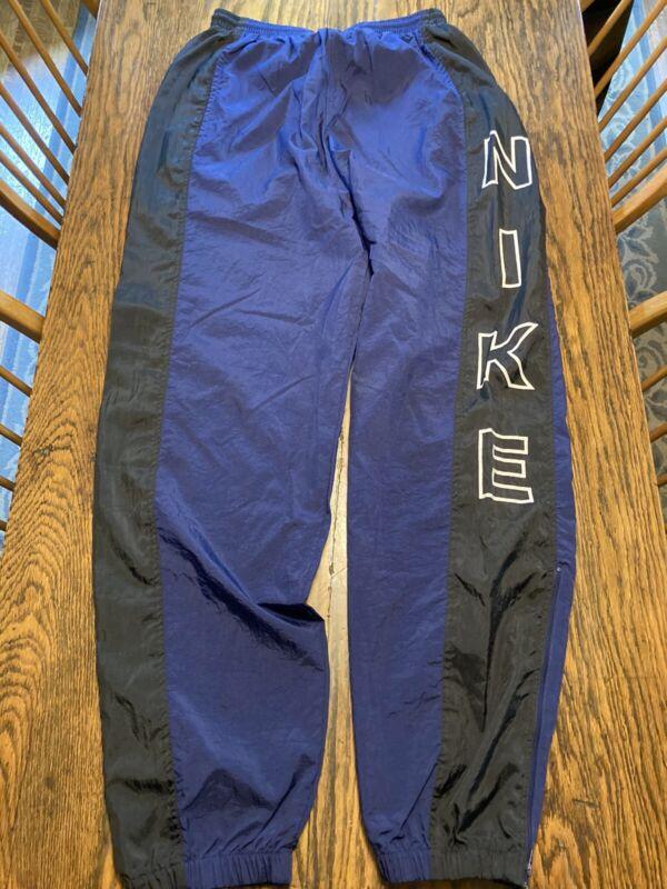 Vintage NIKE Nylon SPELLOUT Track Pants Warmup Joggers Large Blue/Black RARE!!!