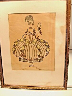 Vintage Slyvia Penther Original Color Woodcut Print 1920's