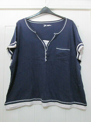 JUST MY SIZE Tunic Top Blue + White Trim Size 18/20 May Suit Size 22 24 26 28