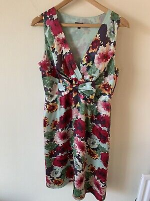 Ladies Phase Eight Size 12 Floral Bow Front Dress Bow-front Floral Dress