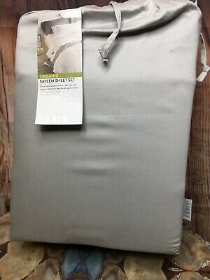 Nordstrom At Home 400 Thread Count Organic Cotton Sateen Sheet Set Grey $119 Organic 400 Thread