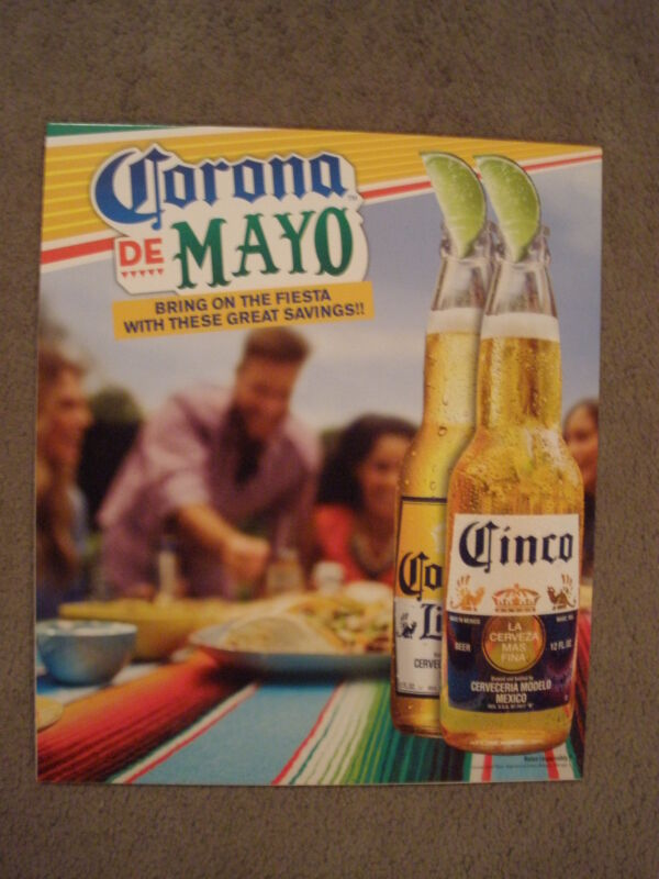 CORONA DE MAYO BEER ADVERTISING CARDBOARD SIGN W/PULL OUT STAND