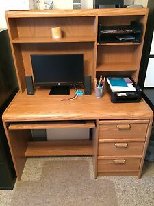 Wooden computer/office desk with matching hutch