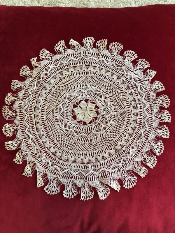 Rare Classic Antique Handmade Armenian Knotted Needle  Lace Doily (Not Crochet)