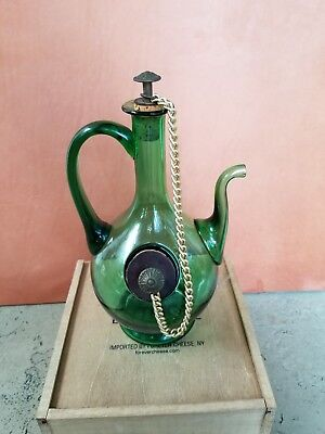 Green Glass Decanter With Chiller, Corks And Chain Green Chiller
