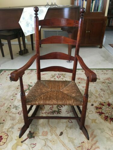 Antique 18th Century American Ladder Back Rush Seat Rocking Arm Chair