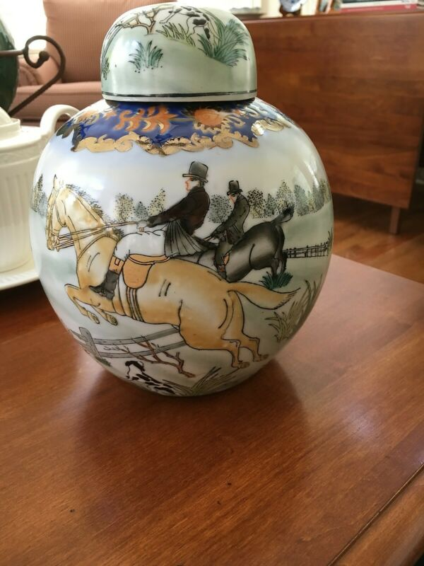 CHINESE ASIAN CHINA GINGER JAR Horse Rider Equestrian HUNT DOG DOGS Porcelain