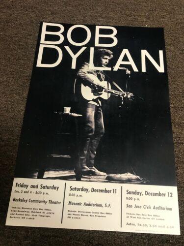"Bob Dylan 1965 San Fransisco San Jose Oakland Cardstock Concert Poster 12"" x 18"""