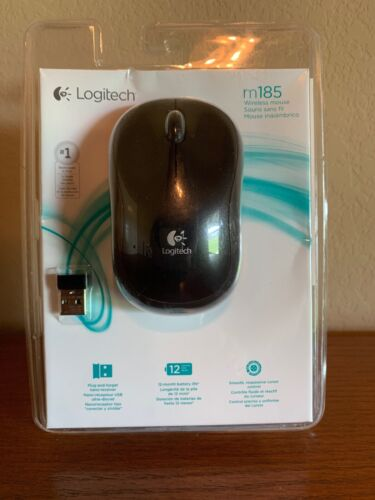 Logitech M185 Wireless Optical Mouse Nano Receiver  Gray - N