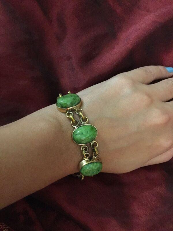 Gorgeous Vintage Egyptian Green Beads Brass Bracelet Handmade in Egypt !!Wow