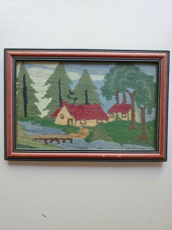 Vintage Primitive 13x9 Folk Art Needle Point  Wool  Cottage Country Farm Woods