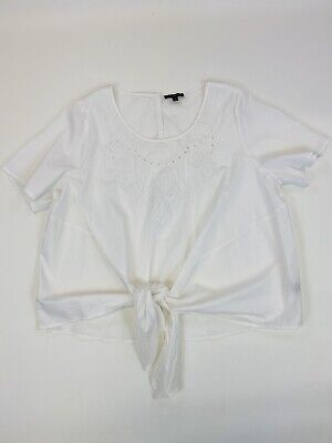 Lane Bryant Short Sleeve Embroidered Front Knot Top White Plus Size 18/20  Lane Bryant Plus Size