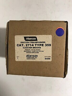 Allanson 2714 Type 359 Ignition Transformer For Cleaver Brooks