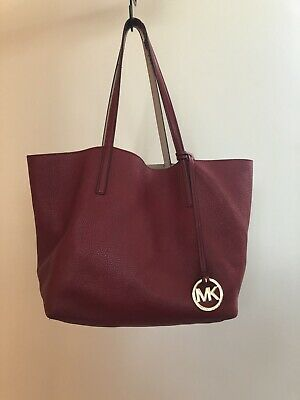 Genuine Michael Kors Soft Reversible Red/ Beige Bag Size Large