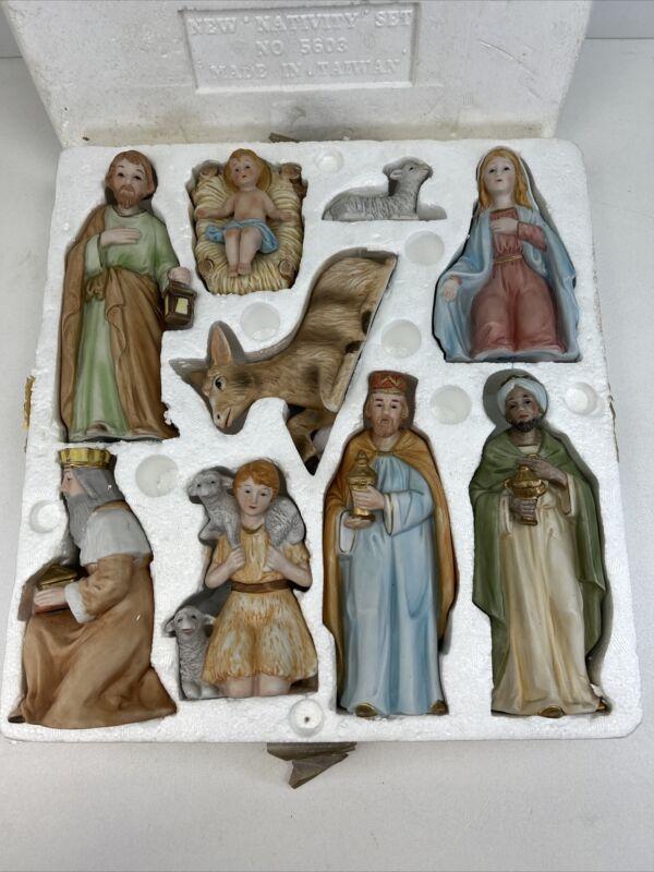 READ Vintage Homco Home Interiors #5603 Christmas Nativity Complete 9 Piece Set